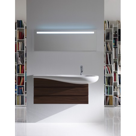 ALESSI ONE baldinis praustuvas 120 x 50/35 cm, su anga maišytuvui, lentynėlė dešinėje, baltas su LCC