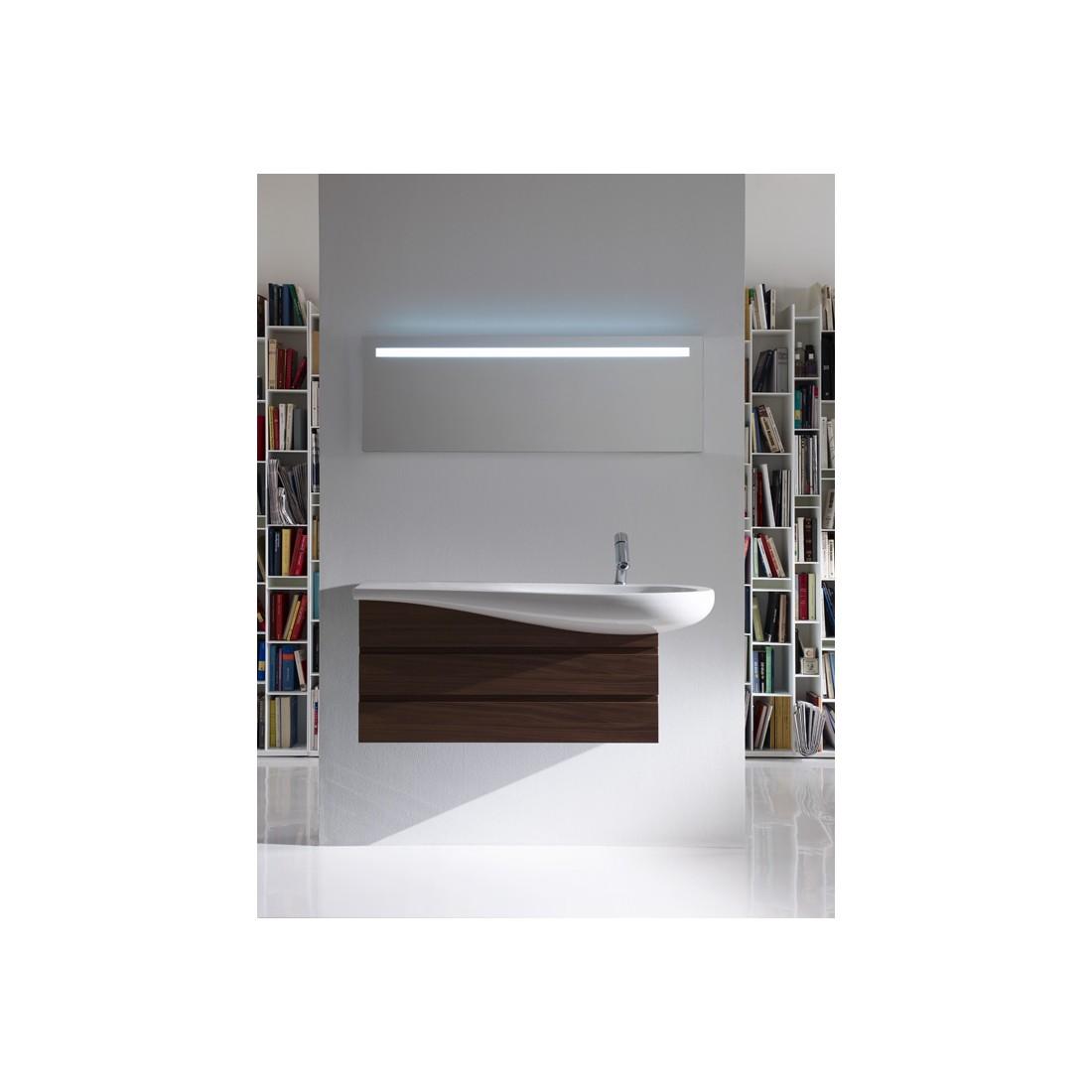 ALESSI ONE baldinis praustuvas 120 x 50/35 cm, su anga maišytuvui, lentynėlė kairėje, baltas su LCC