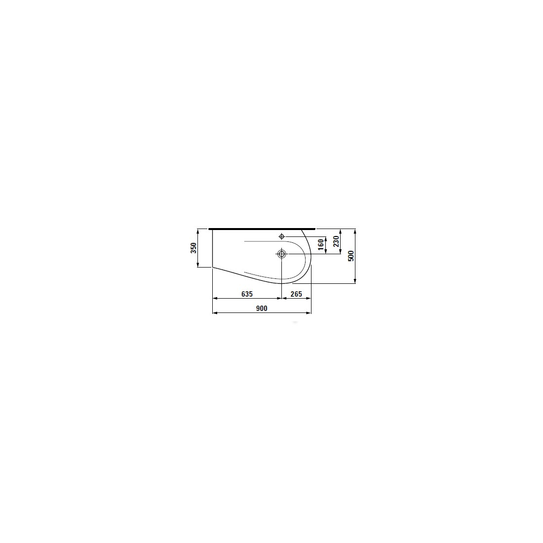 ALESSI ONE baldinis praustuvas 90 x 50/35 cm, su anga maišytuvui, lentynėlė kairėje, baltas su LCC