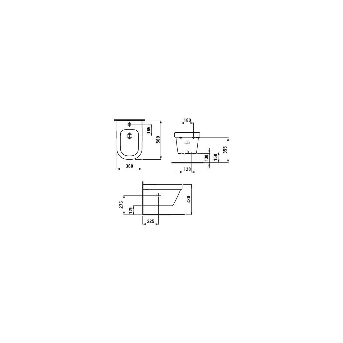 LB3 bide pakabinama su anga maišytuvui, su perlajos sistema CLOU, balta
