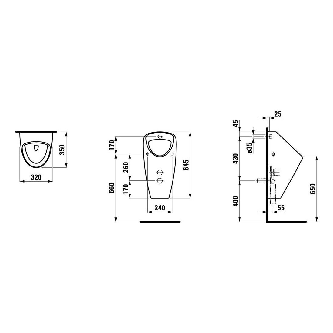Pisuaras Caprino Plus 320x350x645 mm, be valdymo sist., išorinis vand. įv., kompl. mont. skirtas rink. 8.9280.8, baltas