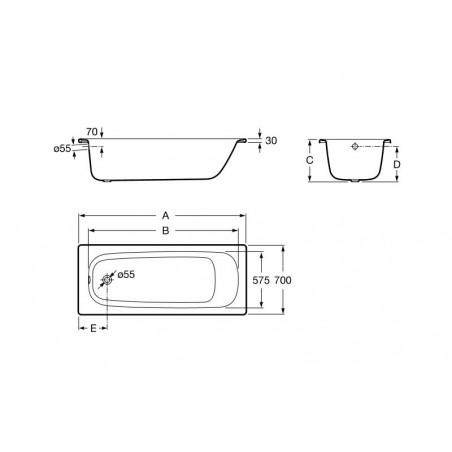 CONTESA plieninė vonia 120x70 cm , balta