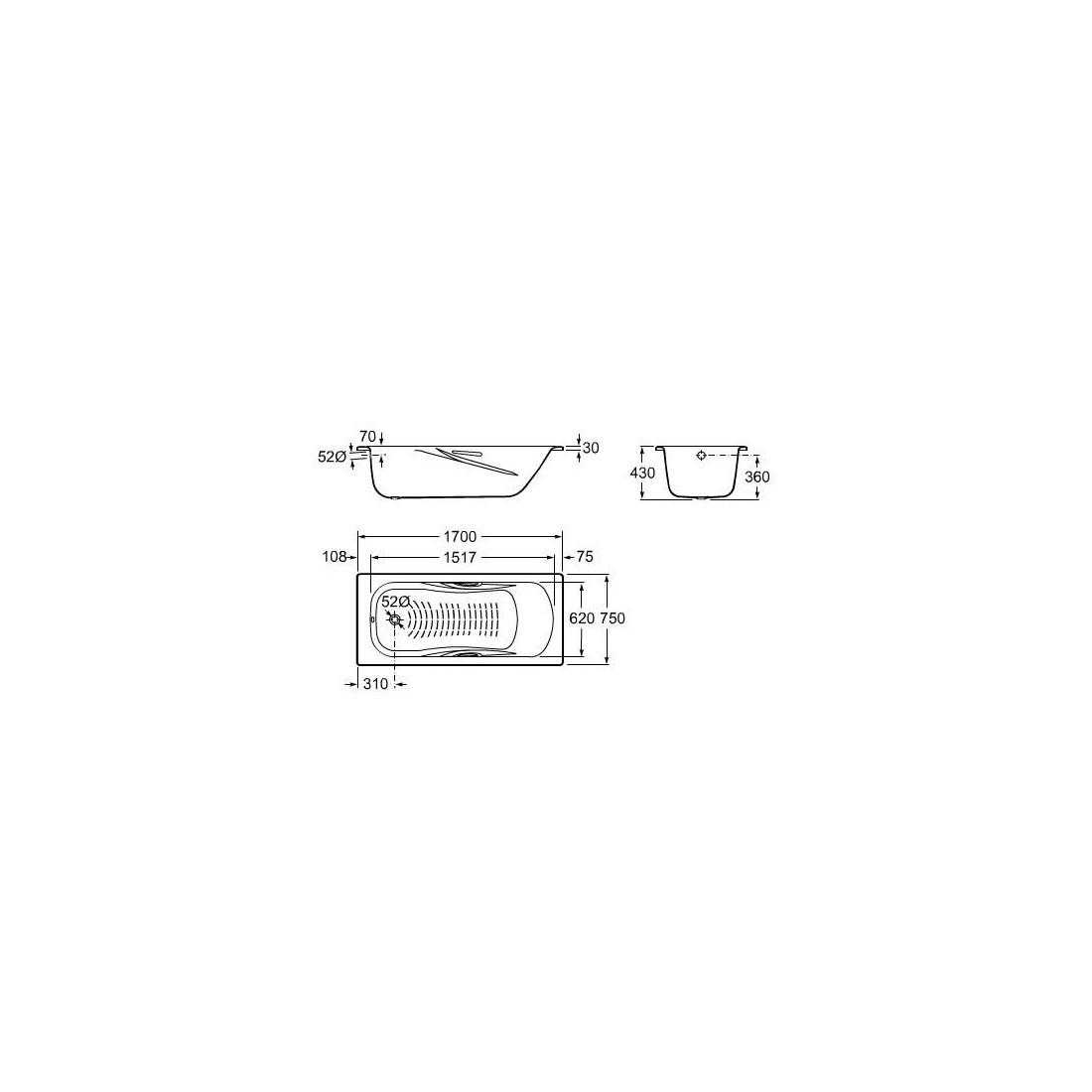 PRINCESS-N plieninė vonia 170 × 75 cm su chrom. rank., (7.5268.0.431.0) antislip