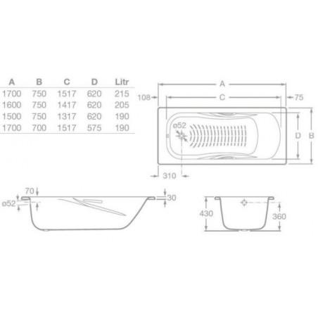 PRINCESS-N plieninė vonia 170x70 cm, antislip