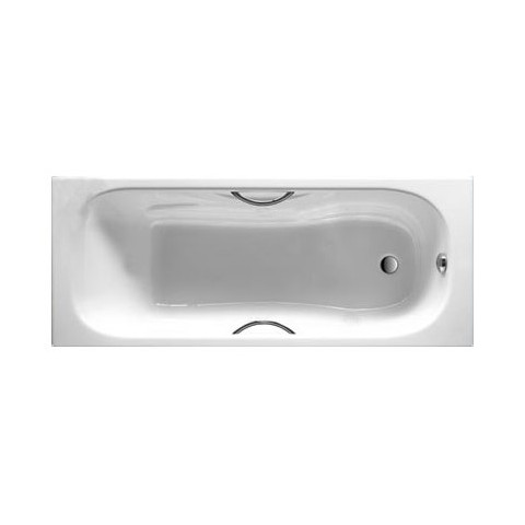 MALIBU ketaus vonia 160x75 cm su chrom. rankenėlėmis  (7.5268.0.301.0), antislip, balta
