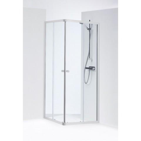 SILVER kvadratinė dušo kabina 80x80x190 cm, poliruoto aliuminio profilis, skaidrus 4mm stiklas,