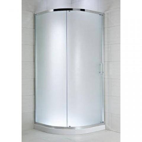 CUBITO pure Dušo kabina pusapvalė 90 x 90 x 195 cm,  1 stumdomos durys, arktinis stiklas, sidabrinis profilis