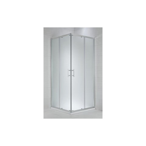 CUBITO pure Dušo kabina kvadratinė 80 x 80 x 195 cm,  2 stumdomos durys, skaidrus stiklas, sidabrinis profilis