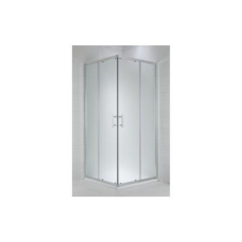 CUBITO pure Dušo kabina kvadratinė 100 x 100 x 195 cm,  2 stumdomos durys, skaidrus stiklas, sidabrinis profilis