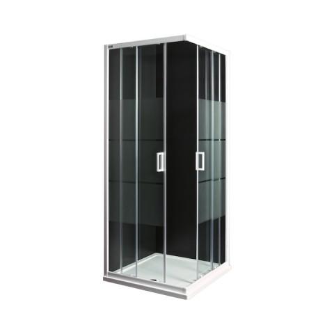 LYRAplus Dušo kabina 80 x 80 x 190 cm, kvadratinė, baltas profilis, skaidrus stiklas