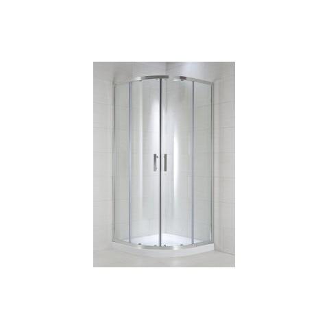 CUBITO pure Dušo kabina 90 x 90 x 195 cm, pusapvalė, 2 stumdomos durys, arktinis stiklas, sidabrinis profilis, 540 mm sp