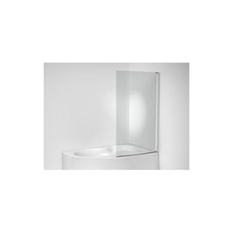 MIO dušo sienelė asimetrinei voniai, 1 segmento, 90x150 cm.,poliruotas sidabro sp. profilis, skaidrus stiklas