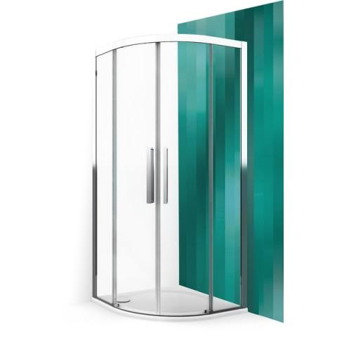 Pusapvalė dušo kabina ECR2N/900 su 2 el. slank. durimis, prof. juodas, stiklas Transparent