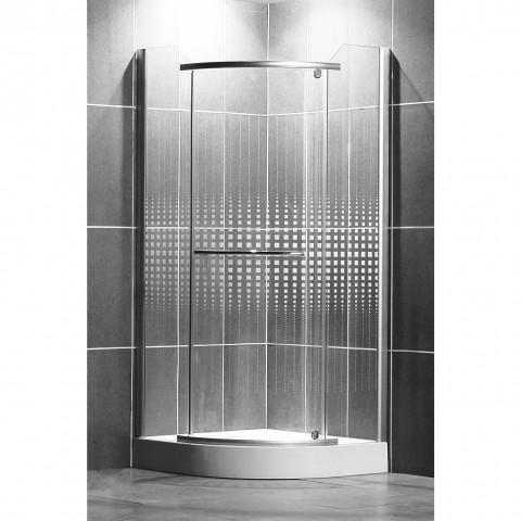 Pusapvalė dušo kabina AUSTIN 900/1950 R550, sidabras/su piešiniu