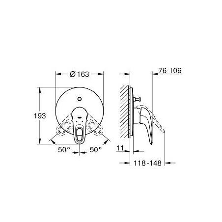 Eurostyle New potinkinis vonios/dušo maišytuvas (be 35501), baltas