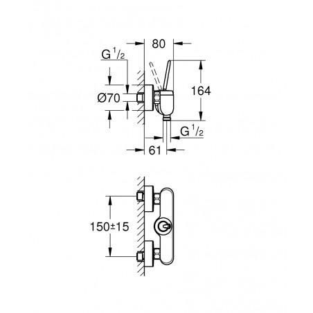 Dušo maišytuvas Eurodisc Joystick, baltas