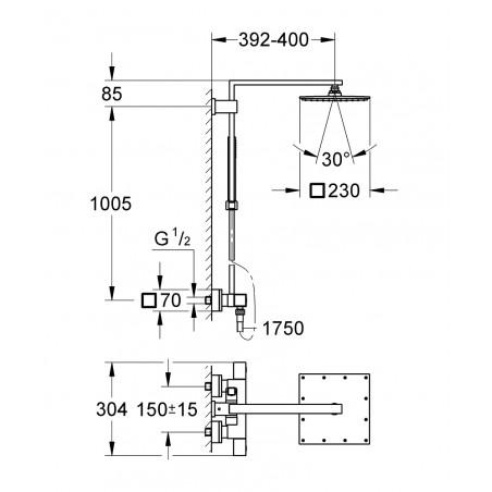 Termostatinė dušo sistema Grohe Euphoria Cube XXL 230, chromas