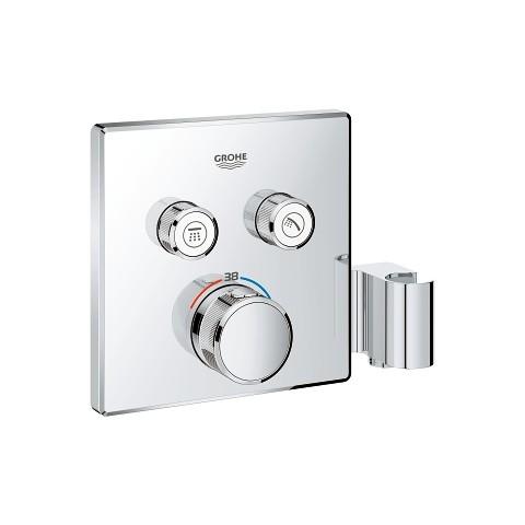 Potinkinis termostatinis maišytuvas Grohtherm Smartcontrol, 2 valdikliai, su integruotu dušo laikikliu, chromas