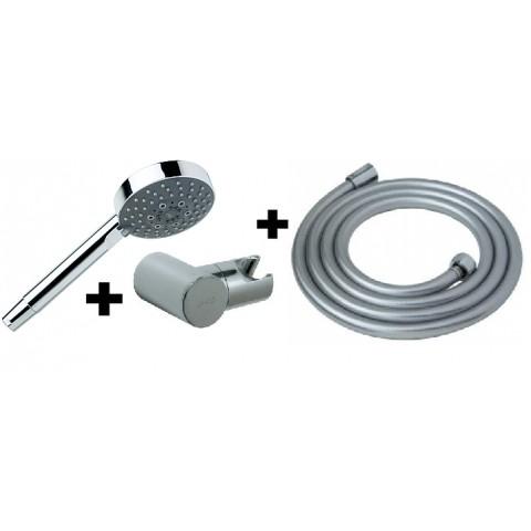 MIO dušo komplektas(rankinis dušas ø 100 mm, 1 funkcija, laikiklis, 1,7m. dušo žarna), chromuotas