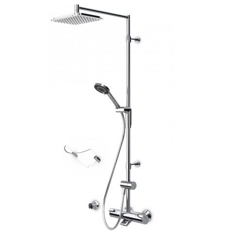 Termostatinė lietaus vonios/dušo sistema OPTIMA su rankiniu dušu ir snapu, chromas