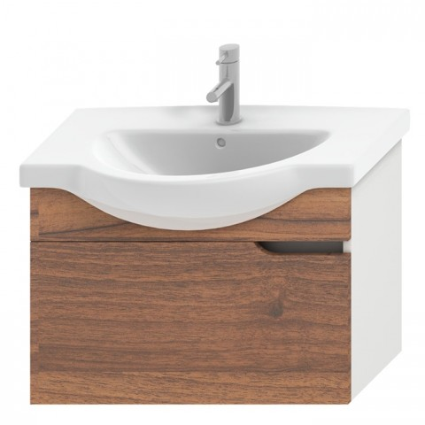 MIO spintelė 75 cm baldiniam praust., 1 stalč., balta / riešutmedis