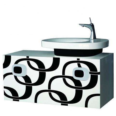 MIMO spintelė po praustuvu 100x40 su 1 stalčiumi ir chromuotom rank., balta su juodu dekoru
