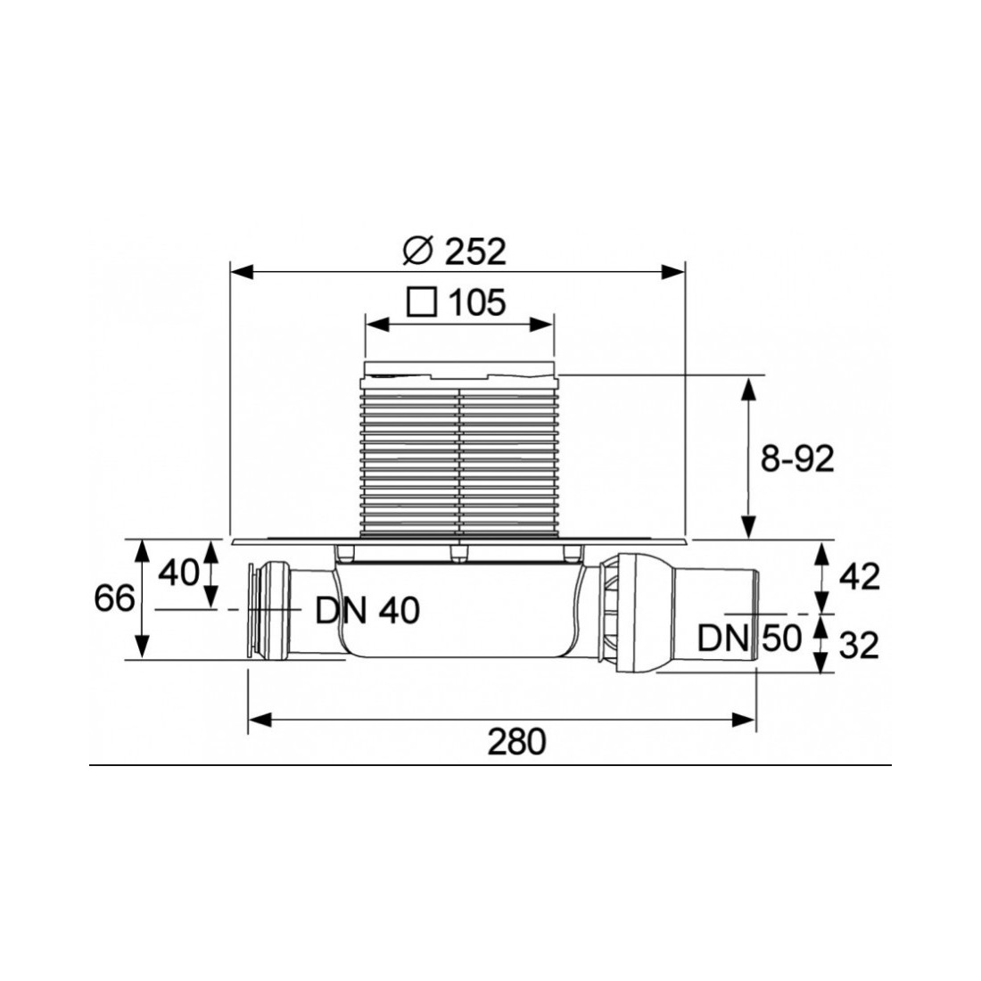 TECEdrainpoint S 112 horizontalus trapo kompl.,ypač plokščias su membranine kvapo užsklanda ,rėmelis NP