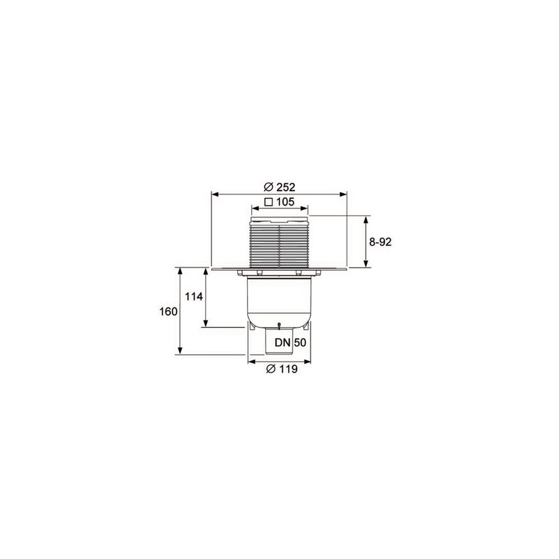 TECEdrainpoint S 130 vertikalus trapo kompl. su membraninė kvapo užsklanda (3695005)