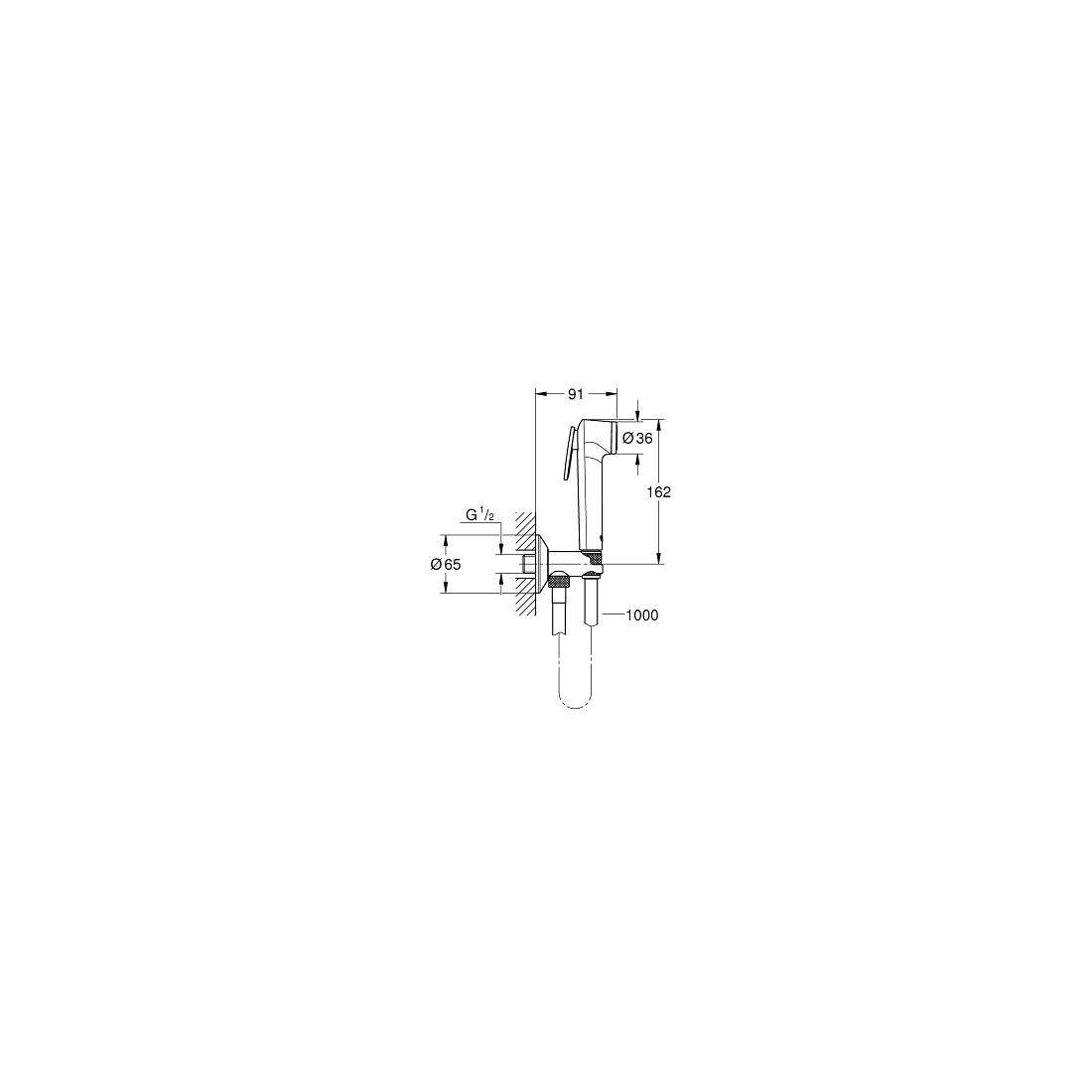 Bidetės komplektas Tempesta-F Trigger Spray 30 (galva, žarna, laikiklis), chromas