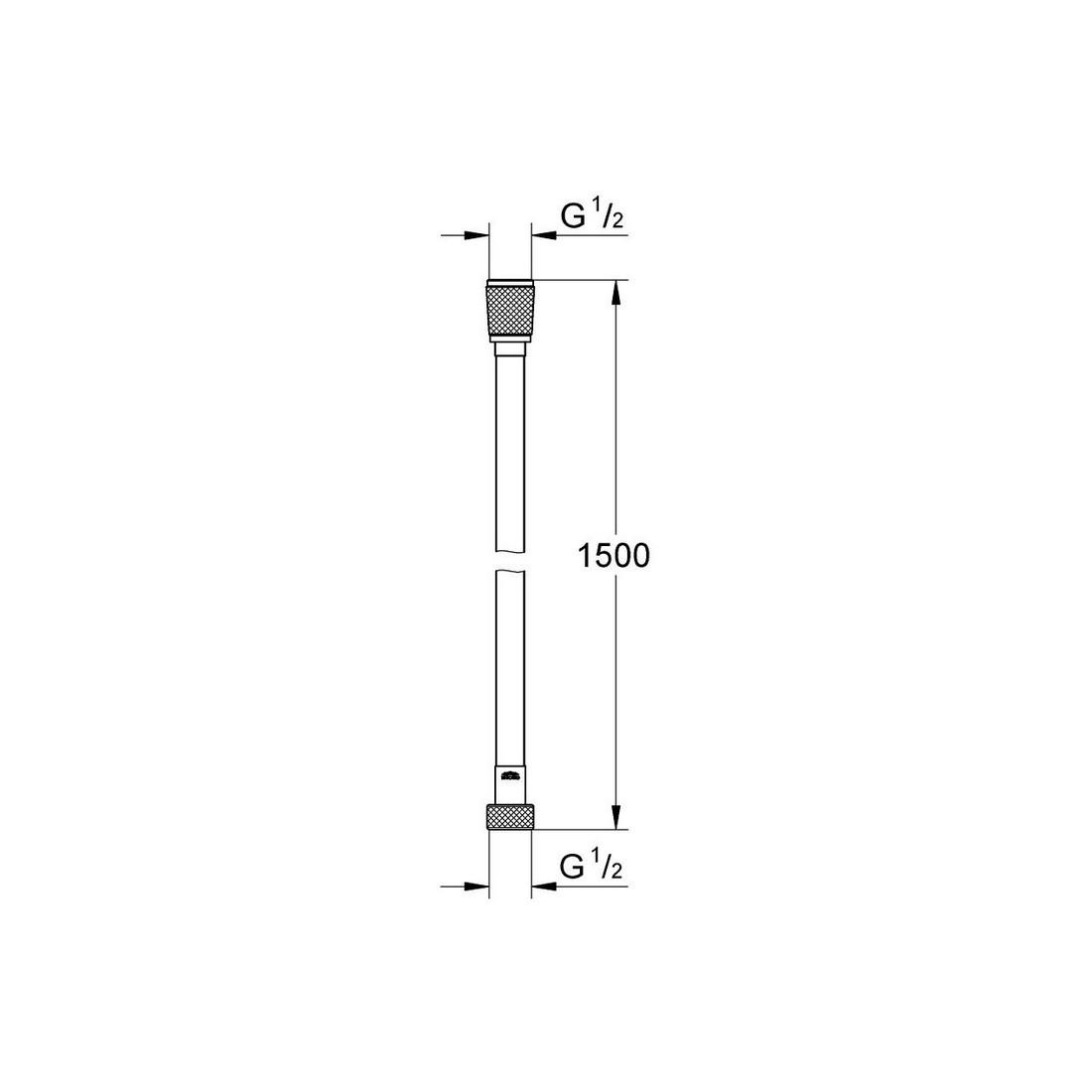 "Dušo žarna Silverflex 1500mm., 1/2""x1/2"", sidabrinė"
