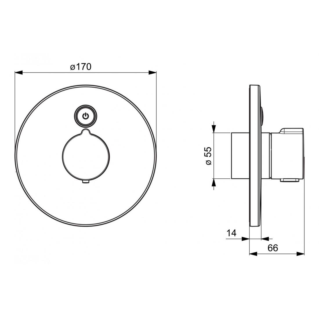 Potinkinio dušo maišytuvo Electra dekoratyvinė dalis, 3V, chromas