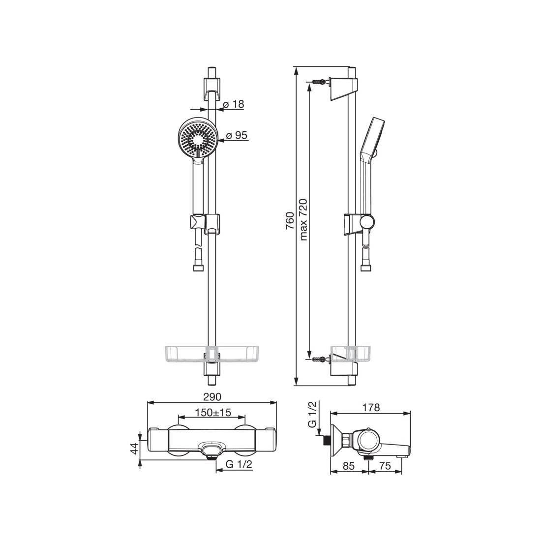 Termostatinis vonios/dušo maišytuvas Nova su dušo komplektu Apollo (7462U+544)