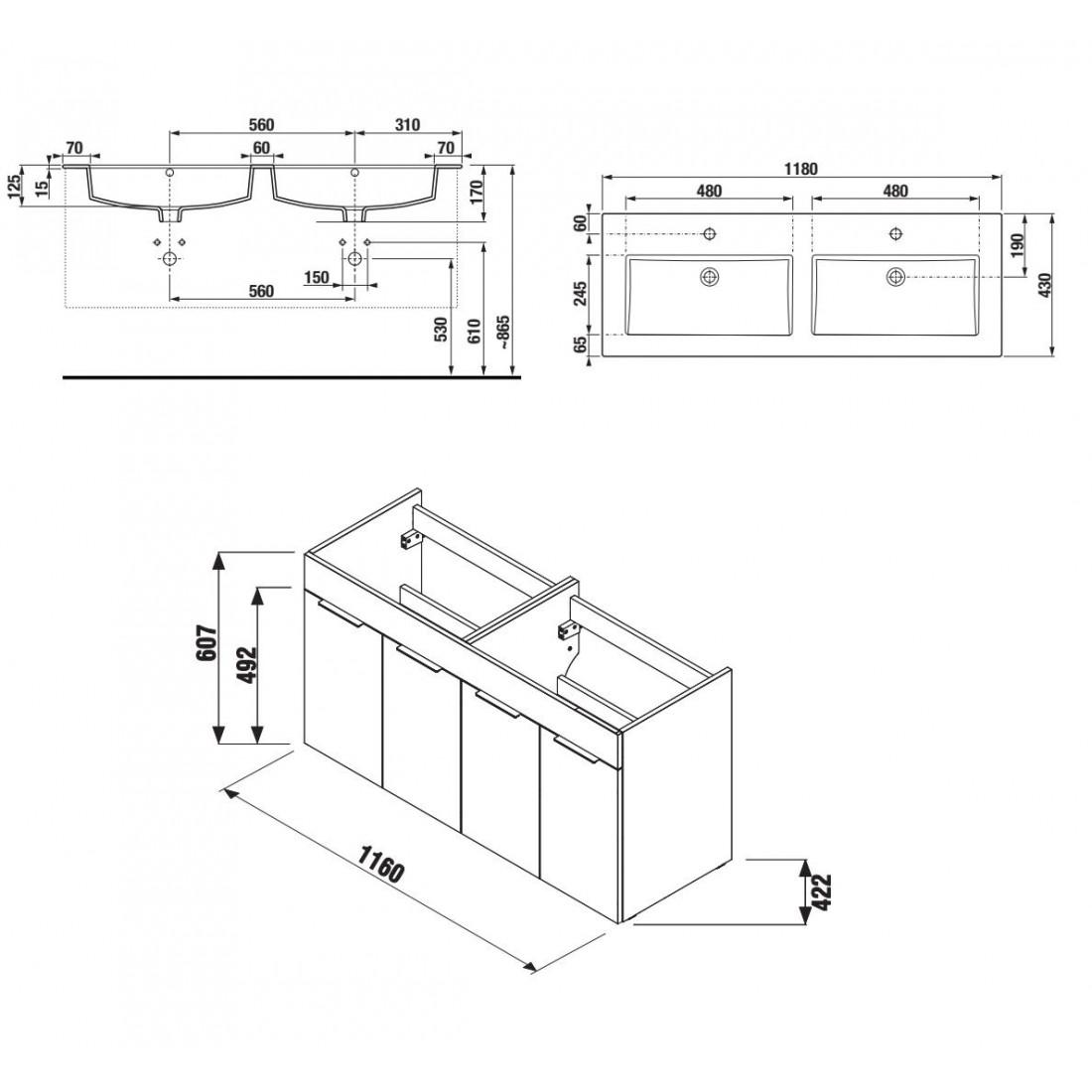 Spintelė CUBE su dvigubu praustuvu 120x43 cm, 4 durelės, juodas ąžuolas