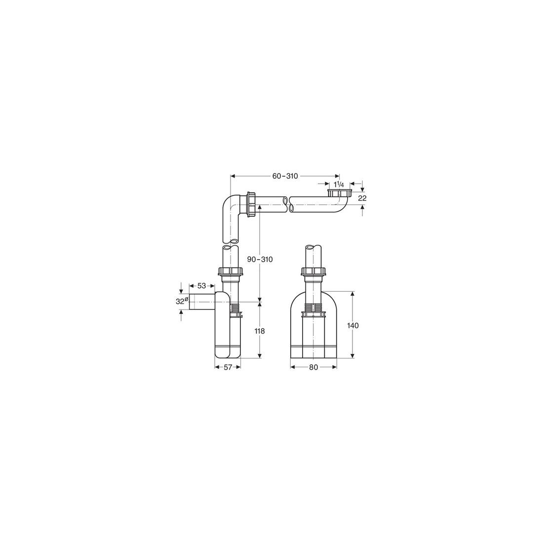 LAUFEN vietą taupantis sifonas, baldinis, DN32 baltas ( keičiasi į 894250, DN40)