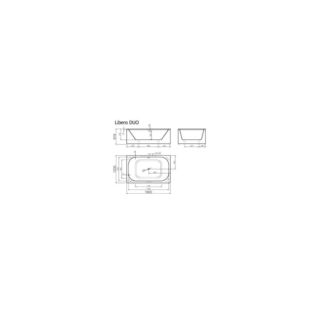 Akmens masės vonia VISPOOL LIBERO DUO 1900x1200 stačiakampė balta