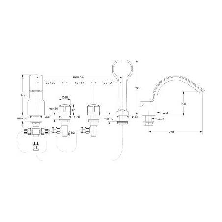 Įmontuojamas vonios maišytuvas Ideal Standard, Melange 4 dalių