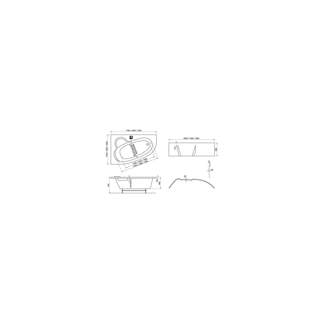 Akrilinė asimetriška vonia RAVAK Asymmetric, 150x100 L