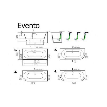 Akmens masės vonia VISPOOL EVENTO 175x75 apvalinti du kampai balta