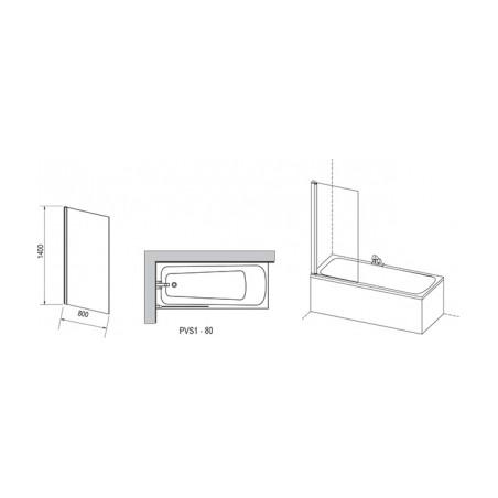 Vonios sienelė RAVAK PVS1 80 balta+stiklas Transparent