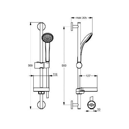Dušo stovas Ideal Standard IdealRain, S1, 600 mm, galvutė 80 mm