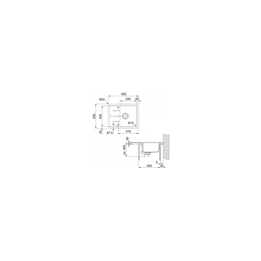 Akmens masės plautuvė Franke Basis BFG 611-62, Steingrau