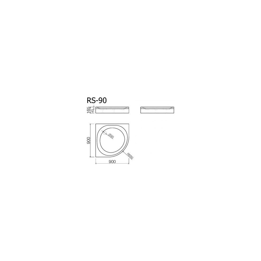 Akmens masės pusapvalis dušo padėklas VISPOOL RS-90 (r550)