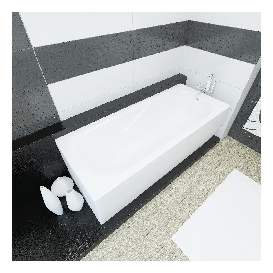 Akmens masės vonia Vispool Classica balta, 180x75
