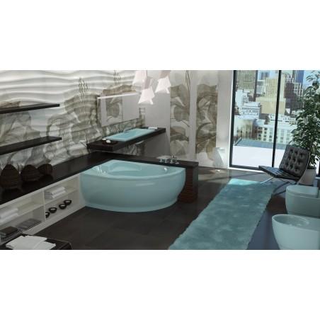 Akmens masės vonia Vispool Lago balta, 149x103 kairės pusės