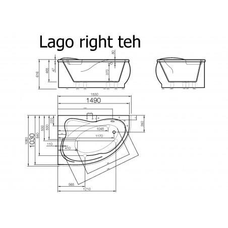 Akmens masės vonia Vispool Lago balta, 149x103 dešinės pusės