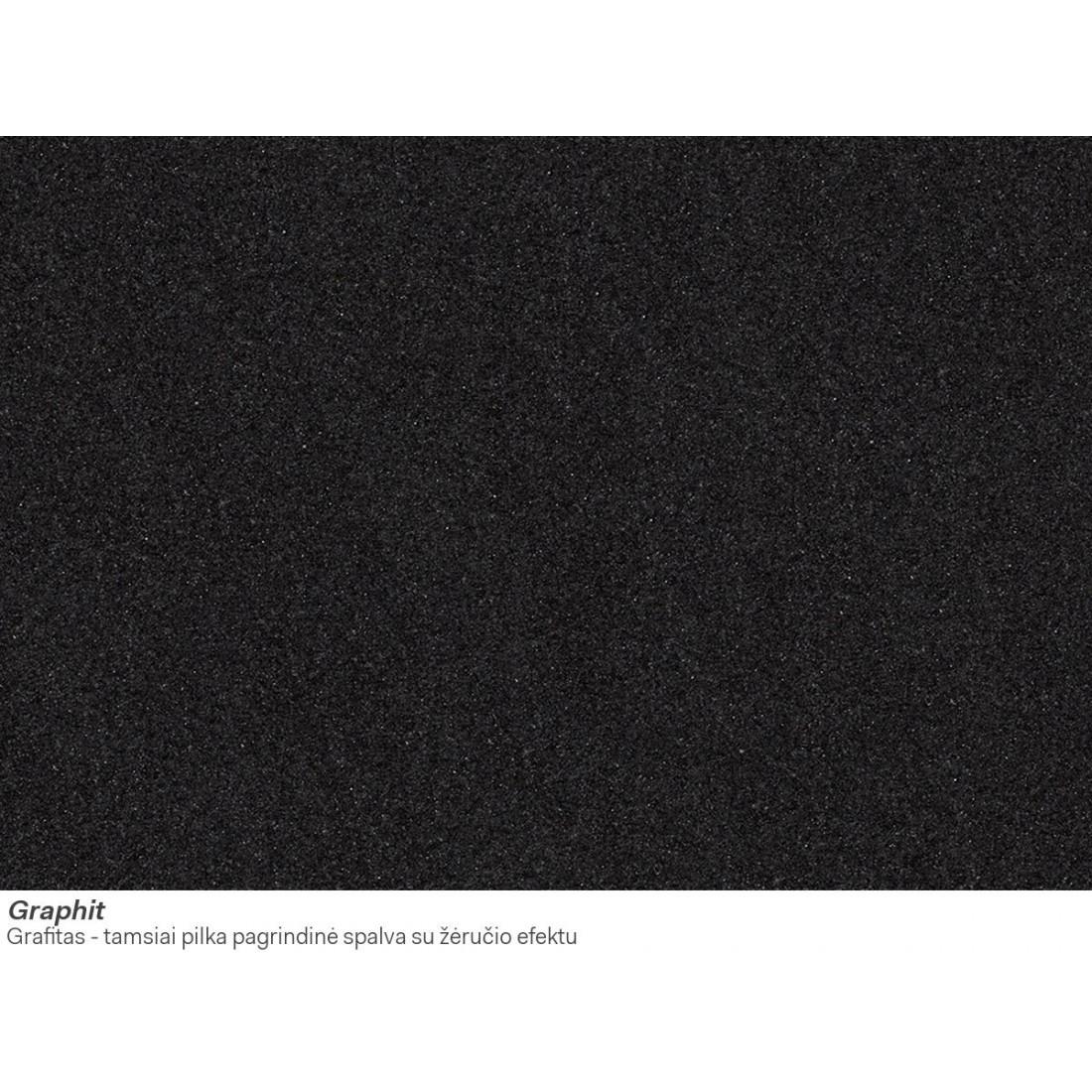 Akmens masės plautuvė Franke Ronda ROG 611, užkemšamas ventilis, Graphit
