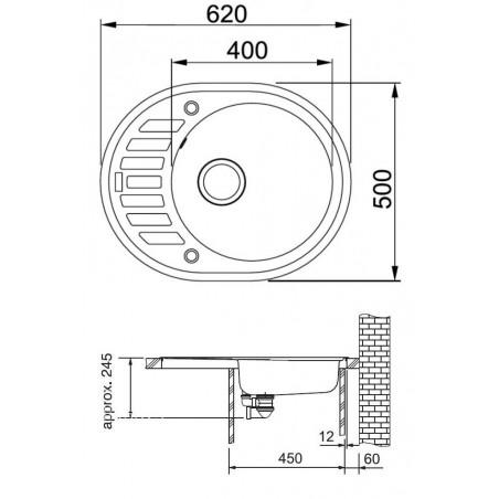 Akmens masės plautuvė Franke Ronda ROG 611-62, užkemšamas ventilis, Sachara