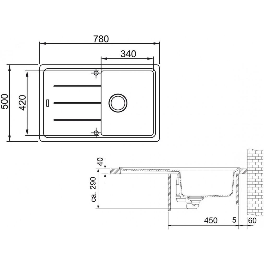Akmens masės plautuvė Franke Basis BFG 611-78, Graphit