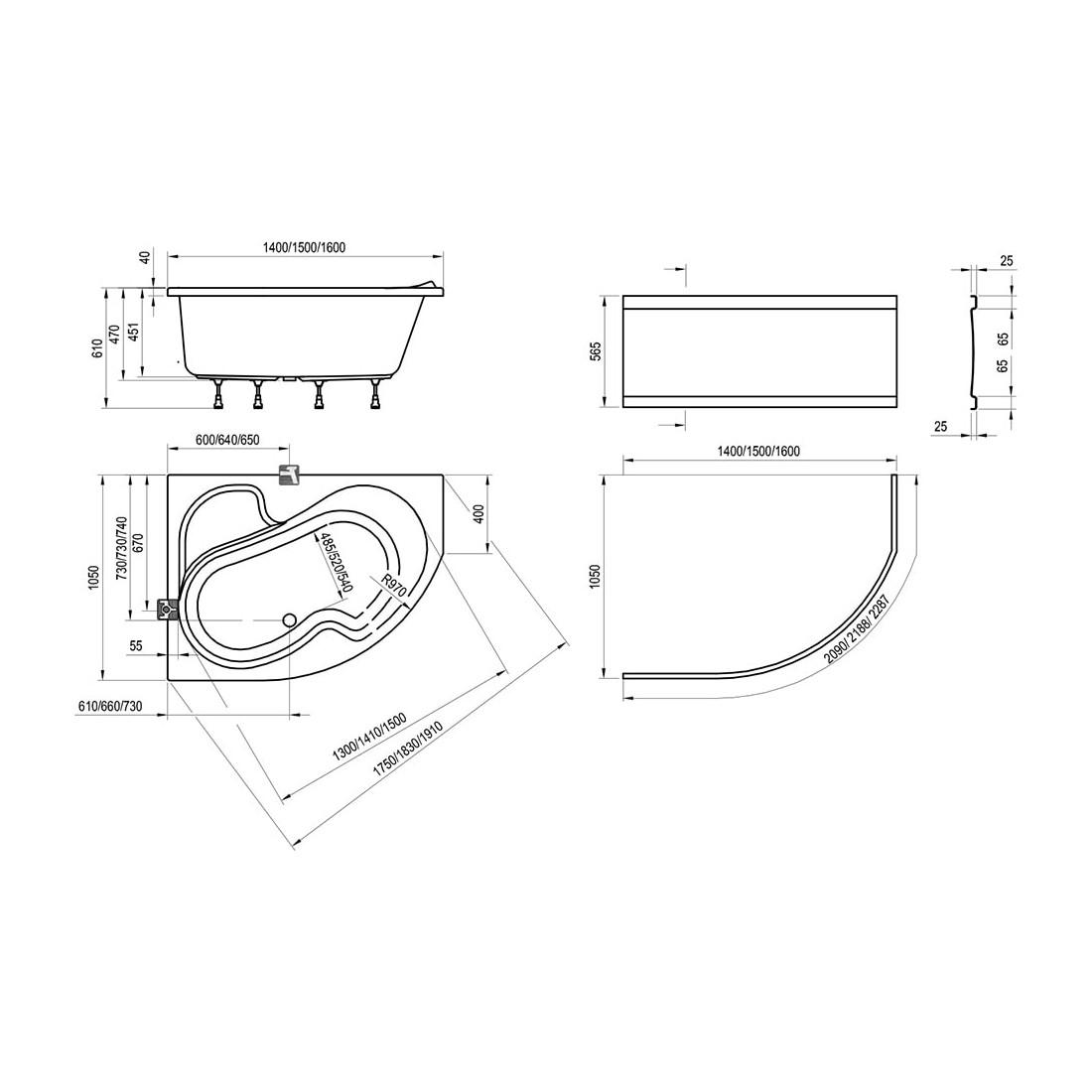 Akrilinė asimetriška vonia Ravak Rosa I, 140x105 cm, dešininė