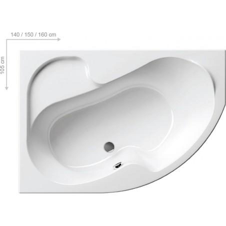 Akrilinė asimetriška vonia Ravak Rosa I, 150x105 cm, dešininė